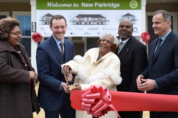 Fosler second from left at New Parkridge ribbon-cutting (Ypsilanti Housing Commission photo)