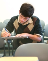 boy taking test