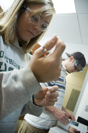 NMU Students in a forensic chemistry lab