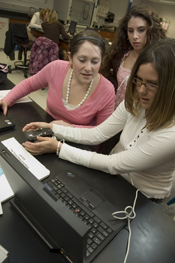 NMU Students using a USB microscope