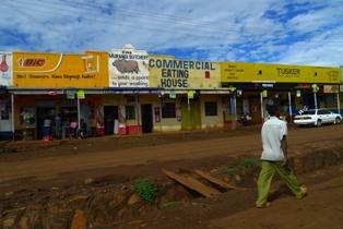 Shops along dirt road