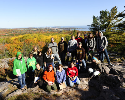 GC370 Geomorphology class on the top of Mt. Mesnard (Fall 2010)