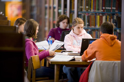 Students studying at the Lydia Olson Library