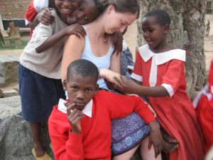 Student Breanne Lash with Kenya students