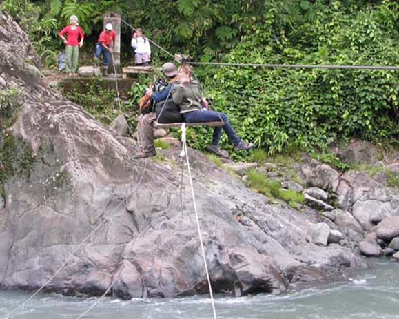 Students crossing rapids