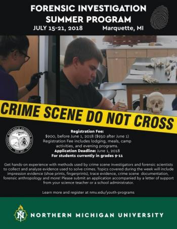 Forensic Investigation Summer program flyer, featuring an image of a fake crime scene and all camp details