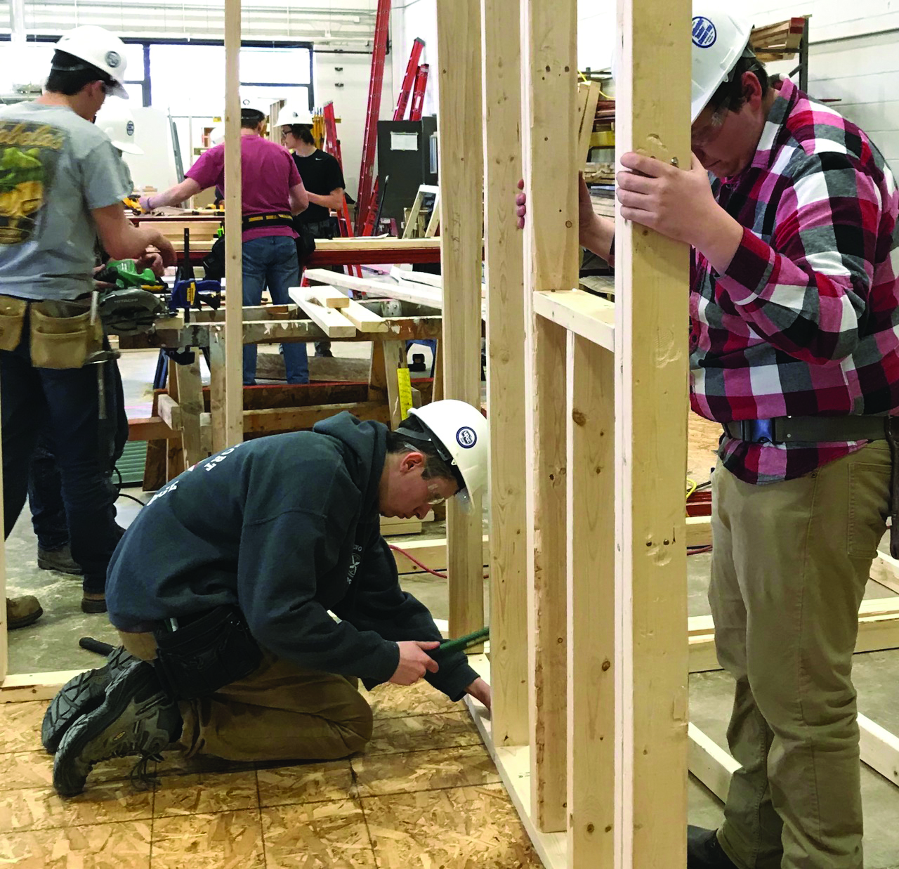 A high school construction team competing in the Skills Challenge at NMU