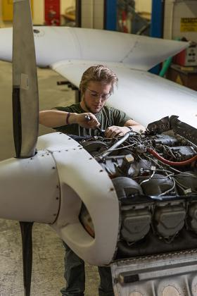 Student in NMU's aviation maintenance technology program