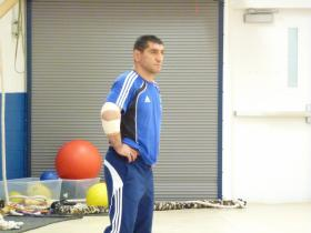 Coach Mkkhitar Manukyan watches practice