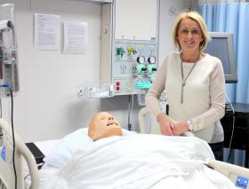 Jane Campbell in the NMU critical care simulation room.