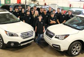 Students with new Subarus