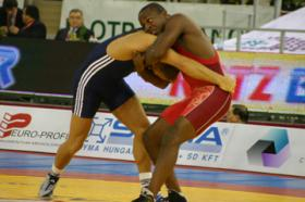 Lester (red) at the World Championships