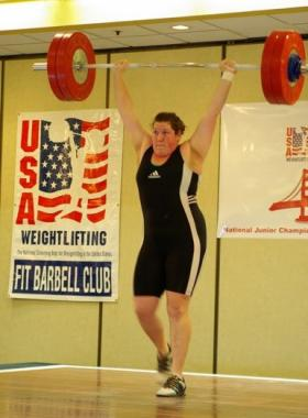Sarah Robles completes a lift during competition