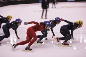 The U.S. Women's Short Track Speedskating team