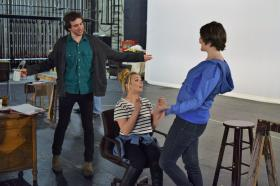 Ethan Bott, Carly Bellock and Carly Plasman rehearse a scene