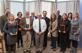 Pictured (from left): Chris Kirk, Breanne Carlson; Susy Ziegler, associate dean of Arts and Sciences; Scott Demel; Steve Neiheisel, VP for enrollment management and student services; NMU President Fritz Erickson; Steve Hughes; Provost Kerri Schuiling; Charles Mesloh, interim dean of Health Sciences and Professional Studies; Kristi Robinia; Mounia Ziat; and Maggie Moore.