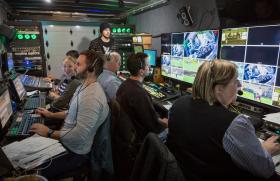 NMU staff and students in the FOX production truck
