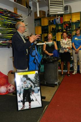 Sten Fjeldheim gives a tour of the ski room.