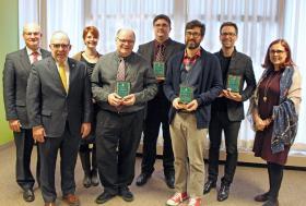 From left: Dean of Arts and Sciences Rob Winn, President Fritz Erickson, Barnsley, Achatz, Tireman, Carlson, Aumann, Provost Kerri Schuiling