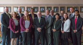 NMU trustees and president with student award winners