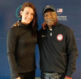 Mayer and Coach Al Mitchell (NMU OTS file photo)