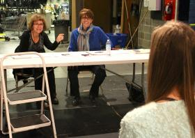 Fiordellisi (left) and Nanos give feedback to an NMU actress