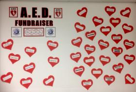 Hearts with donors' names on the wall