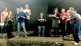 Director Paul Truckey (right) and the cast at a rehearsal (Forest Roberts Theatre photo)