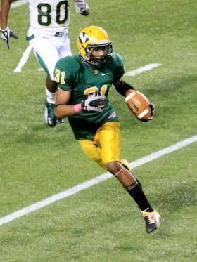 Sophomore Brandon Parson returns an interception.