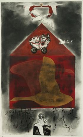Mariel Versluis, Brisk Wind, 2011 mixed media drawing and lithograph