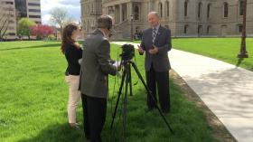 Kent and Brady interview Rep. David Maturen in front of the Capitol