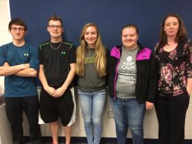 (From left): Team members Trenton Vanderlinden, Paul Parker, Lilly Capodilupo and Lauren Macfarlane with coach Erika Fix