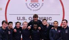 Left to Right: Duffield, Miranda, Nutter, Roberts, Sikes, Nielsen, Porter, Kass (back row: coach Bisek)