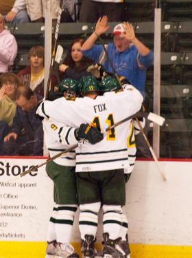 The Wildcats celebrate a goal in 2010-11.