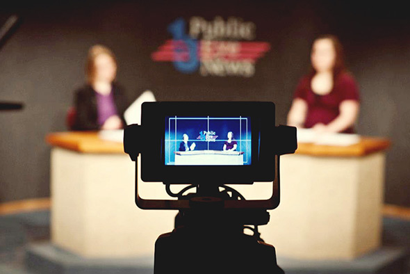Public Eye News, Northern Michigan University's student-produced daily television show is aired on WNMU-TV at 4 p.m. weekdays. Students of any major can participate and learn how to use audio tables, work graphics, use professional cameras and anchor on live television.