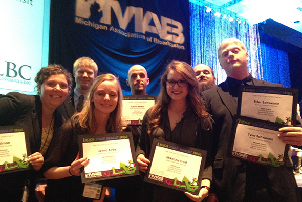Seven Northern Michigan University students won 2013-14 Michigan Association of Broadcasters awards, taking first and second in the college sports television category, which marks the third time in the past five years that Northern has won that category among all universities and colleges in Michigan.