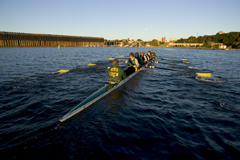NMU Crew team practicing in the lower harbor