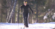 Woman x-country skiiing
