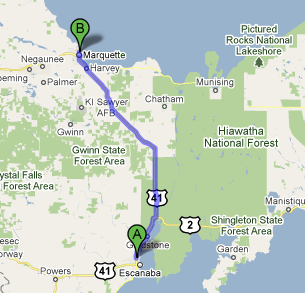 Google map Escanaba to Marquette