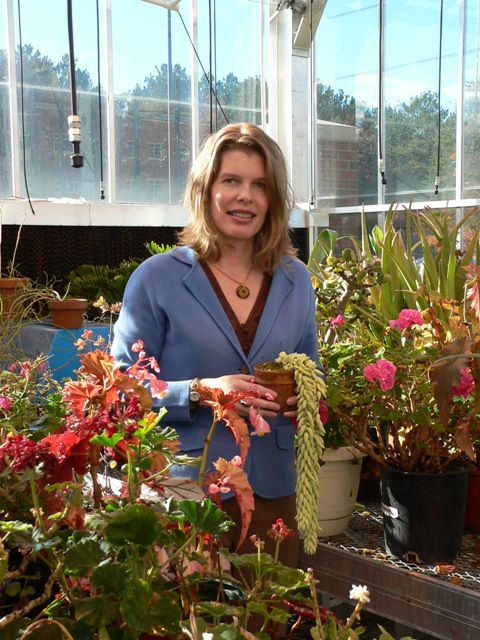 Dr. Becker in the greenhouse