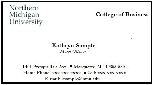 Sample Student Business Card