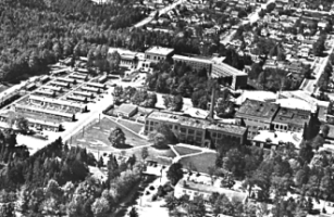 arial view of campus in 1952