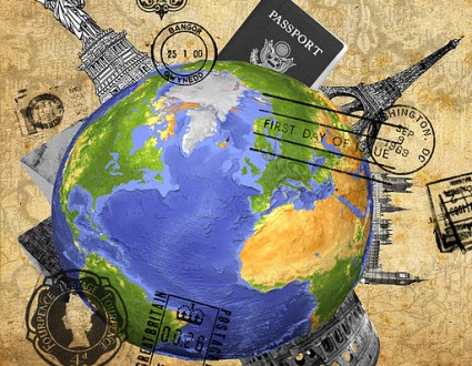 Globe with passport