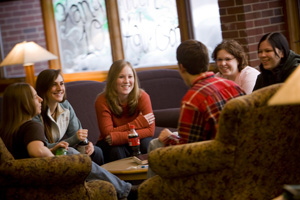 group of students in lounge