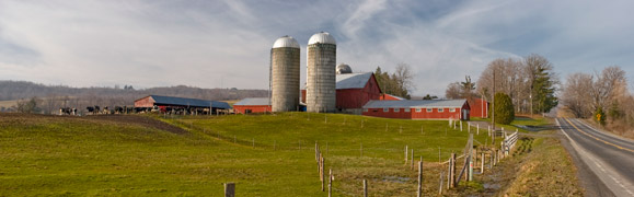 Farm house and silos