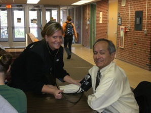 Student Nurse with NMU President at Blood Drive