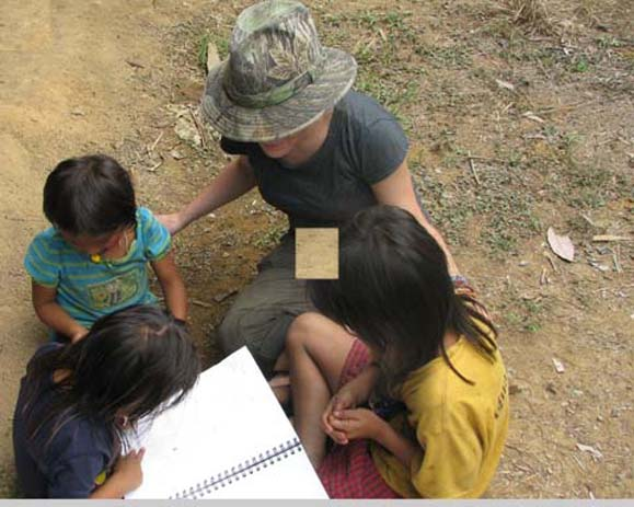 Peruvian children draw for NMU anthropology student