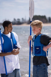 Superior Edge participant with a middle school student at the beach