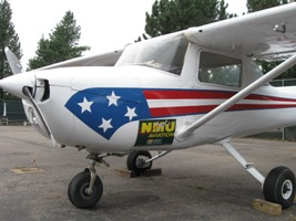 A single-engine prop plane.
