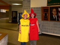 Girls in Ketchup and Mustard costumes